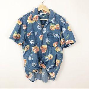 Vintage 90's Liz Claiborne Chambray Floral Shirt
